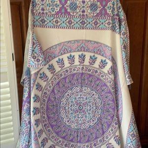 UO aqua, cream,  and purple medallion tapestry